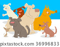 dogs and puppies cartoon characters group 36996833