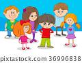 kid characters group cartoon illustration 36996838
