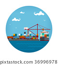 Cargo Container Ship at the Dock 36996978