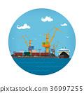 Port Warehouses and Cranes 36997255