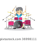 Young girl playing Drumset  Happy Love music  36998111
