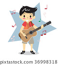 Young boy playing Acoustic guitar Happy Love music 36998318
