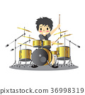 Young boy playing Drumset  Happy Love music  36998319