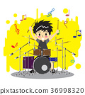 Young boy playing Drumset  Happy Love music 36998320