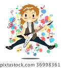 Young boy playing  guitar Happy Love music 36998361