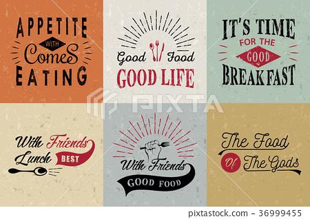 Set of vintage food typographic quotes 36999455