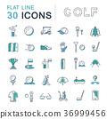 Set Vector Flat Line Icons Golf 36999456