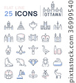 Set Vector Flat Line Icons Ottawa 36999540