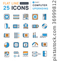 Set Vector Flat Line Icons Upgrading Computer 36999812
