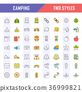 icon, camping, line 36999821