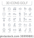 Set Vector Flat Line Icons Golf 36999881