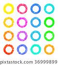清新精緻,精美手繪水彩,白色背景:彩色圓環,水彩 36999899