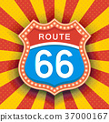 Retro Signboard with Light Text of Route Sixty Six 37000167