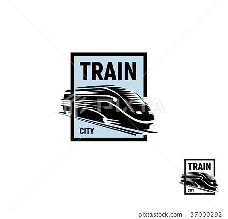Isolated abstract black color train in blue square 37000292