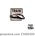 Isolated abstract black color train in pink square 37000305