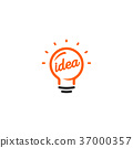 Isolated abstract orange color light bulb contour 37000357