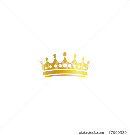 Isolated golden color crown logo on white 37000520