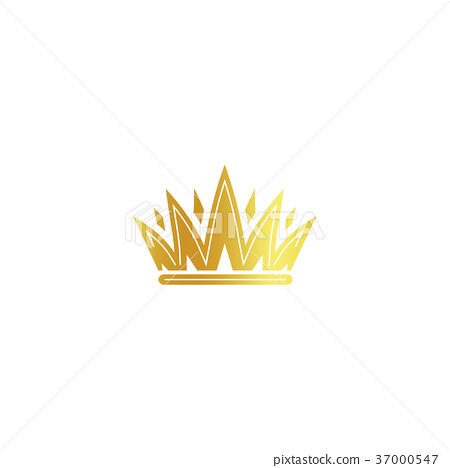 Isolated golden color crown logo on white 37000547