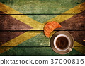 Cup of coffee with croissant and flag 37000816