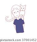 Cat Sit on Girl Shoulder 37001452