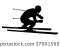 高山的 滑雪者 下坡 37001569