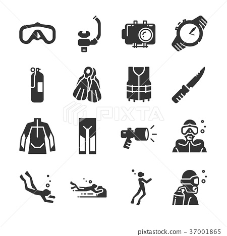 Scuba diving icon set. 37001865