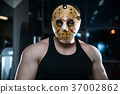 horror brutal Jason mask man strong bodybuilder athletic fitness 37002862