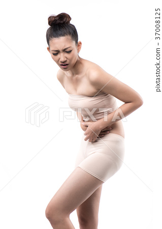 asian woman having stomachache on white background 37008125