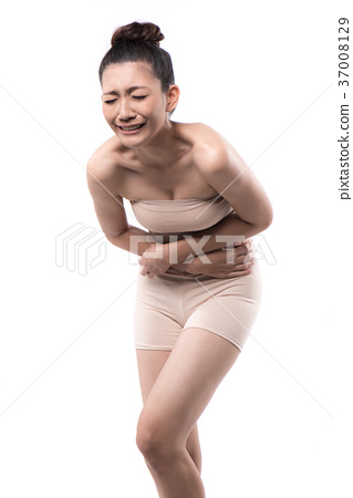 asian woman having stomachache on white background 37008129