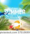 Summer beach with Beach volleyball and starfish 37010699