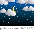 The moon and stars in night sky 37010723