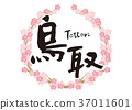 Tottori calligraphy character cherry blossoms frame 37011601