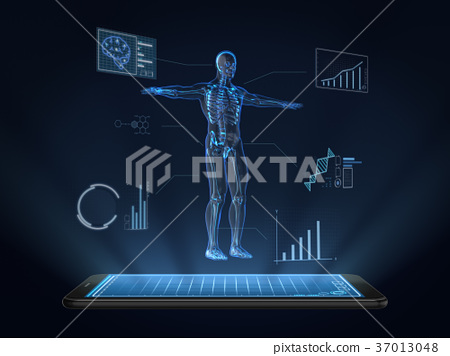 Hologram Human anatomy and skeleton on smartphone 37013048