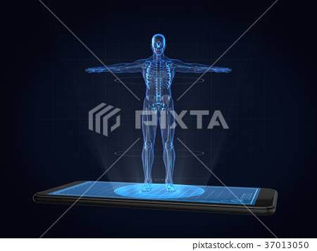 Hologram Human anatomy and skeleton on smartphone 37013050