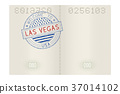 Passport pages with Welcome to Las Vegas stamp 37014102