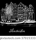 Vector Amsterdam canal and typical dutch houses 37015333