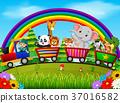 adventurer and wild animals on the train  37016582