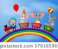 Clown and elephant on the train with rainbow  37016590