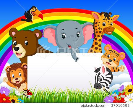 cartoon animal with blanksign and rainbow 37016592