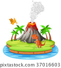 Dinosaur and volcano eruption illustration 37016603