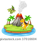 Dinosaur and volcano eruption illustration 37016604
