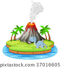 Dinosaur and volcano eruption illustration 37016605