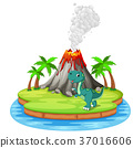 Dinosaur and volcano eruption illustration 37016606