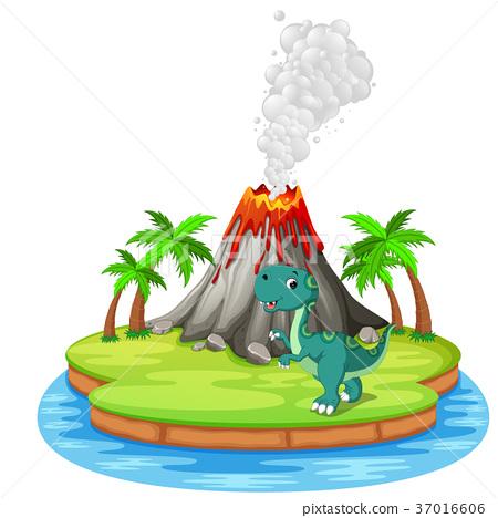 Dinosaur and volcano eruption illustration 37016606