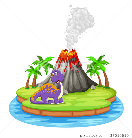 Dinosaur and volcano eruption illustration 37016610