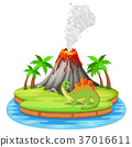Dinosaur and volcano eruption illustration 37016611