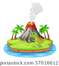 Dinosaur and volcano eruption illustration 37016612