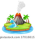 Dinosaur and volcano eruption illustration 37016615