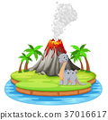 Dinosaur and volcano eruption illustration 37016617