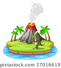 Dinosaur and volcano eruption illustration 37016619